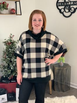 A Touch of Plaid Top - Off White/Black