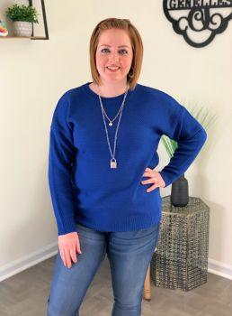 Shake It Off Basic Sweater - Royal Blue