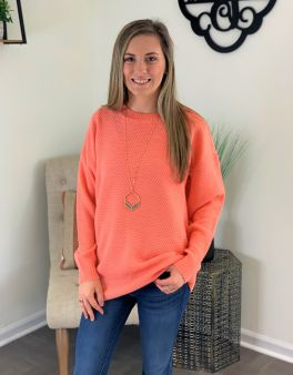 Shake It Off Basic Sweater - Coral