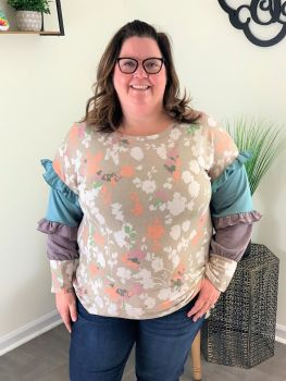 Floral Envy Plus Top - Taupe