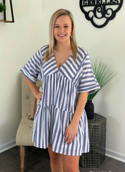 Speechless in Stripes Dress - Ivory/Blue