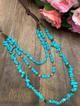 Making Memories Necklace - Triple Turquoise