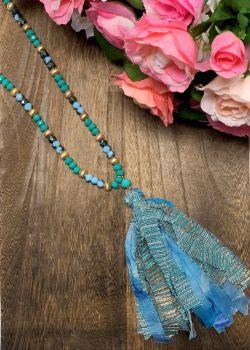 Making Memories Necklace - Turquoise Tassel