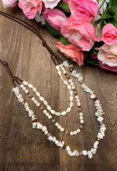 Making Memories Necklace - Triple Ivory