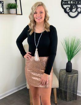 Shimmer And Shine Skirt - Rose Gold