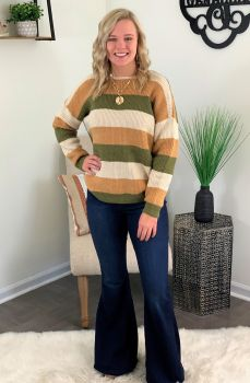 Twist Of Faith Sweater - Camel/Olive