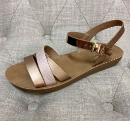 Taking It In Stride Sandals - Rose Gold