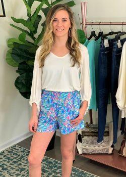 Simply Southern Abstract Shorts - Aqua