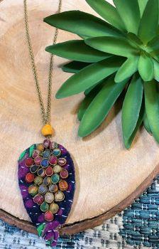 Anju Aasha Leaf Pendant Necklace - Multi