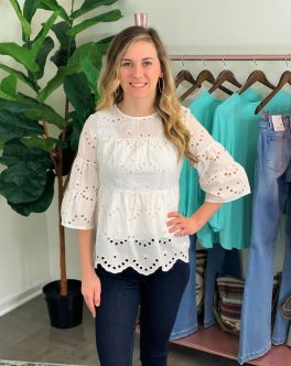 Simply Southern Lace Top - White