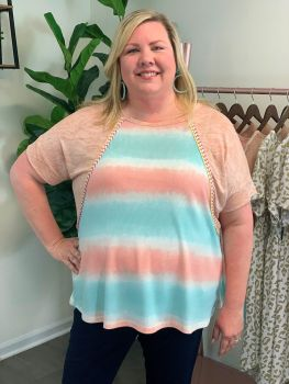 Simple And Sweet Plus Top - Peach
