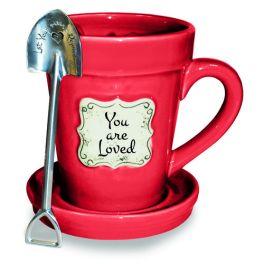 Flower Pot Mug - Red Loved