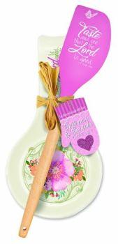 Pink Taste & See Spoon Rest & Spatula Gift Set