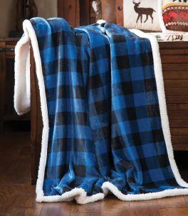 Wrangler Blue Lumberjack Sherpa Fleece Throw