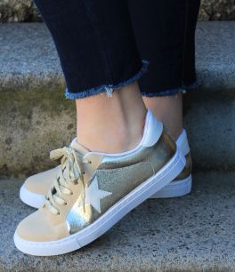 Walk This Way Sneakers - Gold