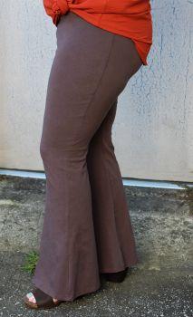 Break It Down Plus Bell Bottom Pants - Brown