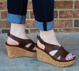 Can't Walk Away Wedge Sandals - Whiskey