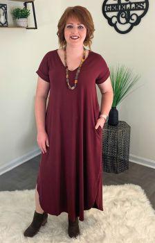Living The Dream Maxi Dress - Burgundy