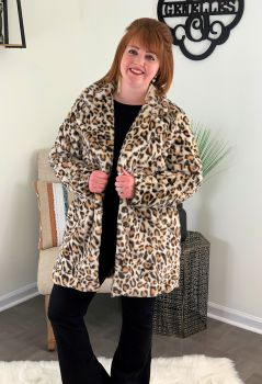 Keep Me Cozy Jacket - Tan Leopard