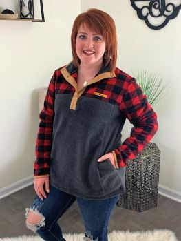 Simply Southern Fleece Pullover - Plaid
