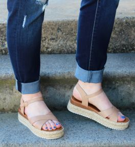 Happy Places Wedge Sandals - Nude
