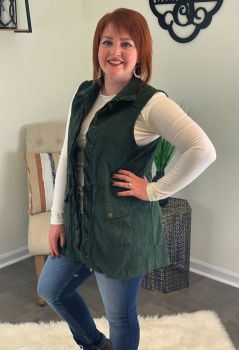 Casual Friday's Corduroy Vest - Forest Green