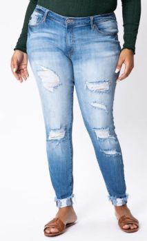 Fitting In Plus Distressed Skinny Jeans - Light Wash