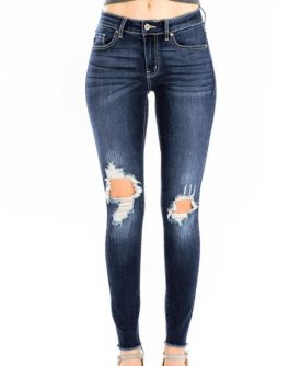 On The Chase Mid Rise Super Skinny Jeans - Dark Wash