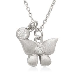 Sterling Silver CZ Butterfly Children's Necklace