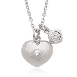 Sterling Silver Small CZ Double Heart Children's Necklace