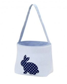 Seersucker Blue Cotton Tail Easter Basket