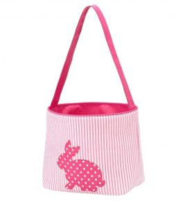 Seersucker Hot Pink Cotton Tail Easter Basket