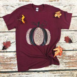 Fall Leopard Pumpkin Tee - Maroon