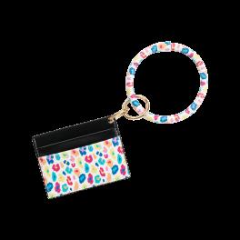 Fun Leopard Card Holder Keychain Bracelet