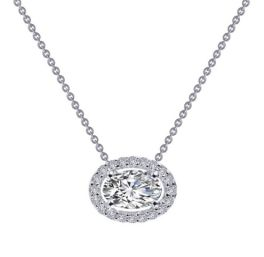 Sterling Silver Oval Halo Necklace - Lafonn