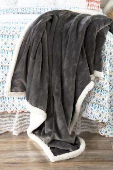Grey Sherpa Plush Throw