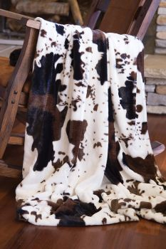 Cowhide Plush Fur Throw