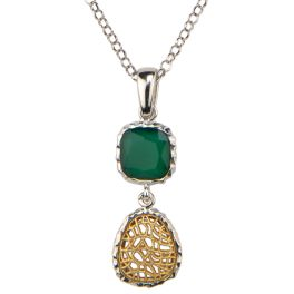 Frederic Duclos Sterling Silver Green Agate Necklace With Gold Plating