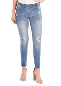 Fit Just Right Distressed Skinny Pull-On Jeans - Light Wash