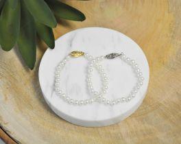 """14K White Gold Freshwater Pearl Bracelet - 5.5"""""""