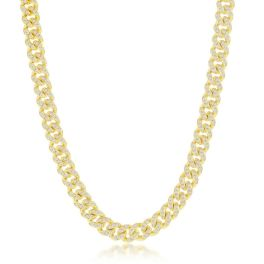 Sterling Silver CZ Cuban Chain - Gold Plated