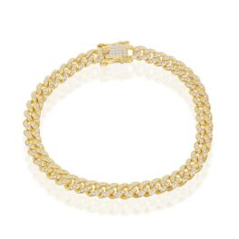 Gold-Plated Sterling Silver Micro Pave CZ Miami Cuban Bracelet - 8.5 Inches