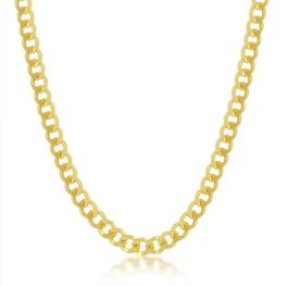 """Sterling Silver Gold Plated 4.5mm Cuban Chain - 20"""""""