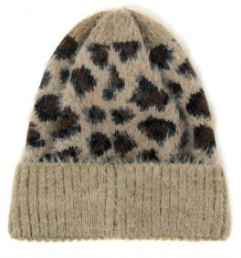 Just Warming Up Leopard Beanie - Taupe