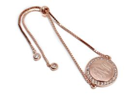 Sterling Silver Round CZ Bracelet - Rose Gold