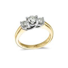Ladies 14K Yellow Gold 3-Stone Trellis Diamond Ring - 1CT