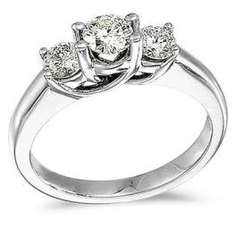 Ladies 14K White Gold 3-Stone Trellis Diamond Ring - 1CT