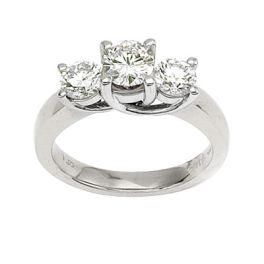14k White Gold 3-Stone 1.5 Ct Diamond Ring