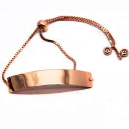 Sterling Silver Curved Bar Bracelet - Rose Gold Plated