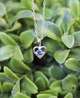 Kids Sterling Silver Heart Birthstone Necklace